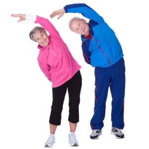 Elderly Couple doing stretching Exercises