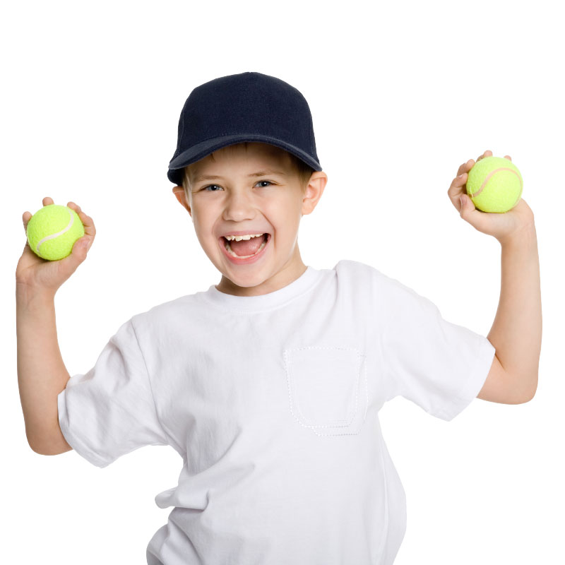 Kid Holding Tennis Balls