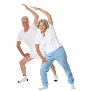 Elderly Couple Strtching
